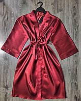 Жіночий батальний халат для будинку 081-1 бордо.