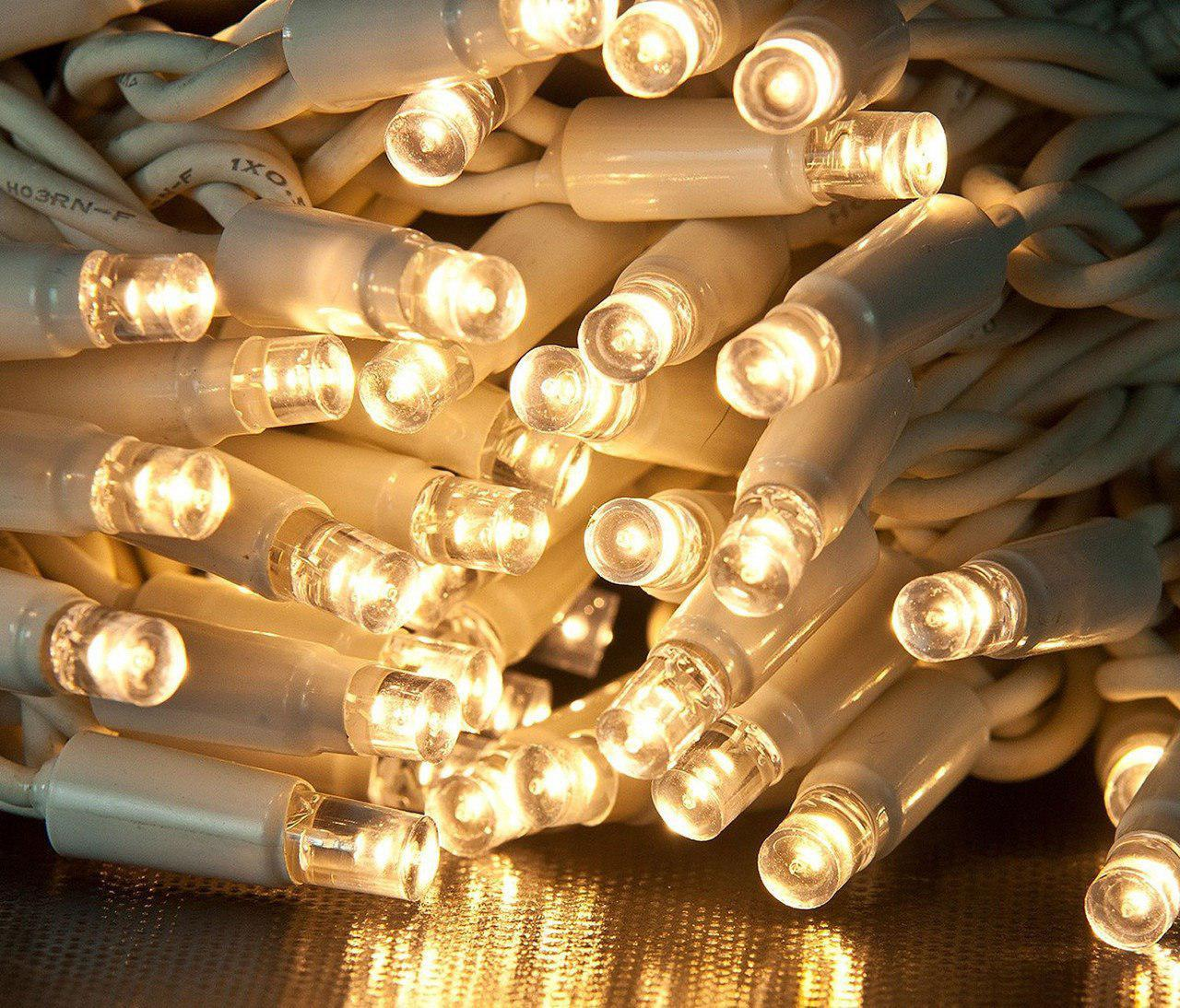"""Уличная Cветодиодная гирлянда Нить """"String"""" 20 метров Теплый Белый, 200 LED белый провод каучук пвх"""