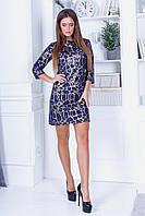 Коктельное прямое платье мини из трикотажа с пайеткой, рукав 3/4, на спине вырез с завязками  (42-46)