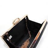 Чорний жіночий вечірній клатч-бокс 8800 маленький випускний на ланцюжку, фото 5
