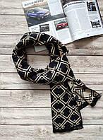 Мужской черный шарф с ромбами