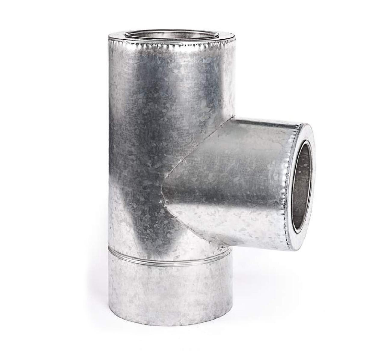 Тройник 87° из нержавеющей стали с термоизоляцией нерж/оцинк
