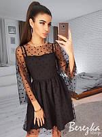 Женское вечернее  осеннее платье евросетка на бретельках костюмка черное 42-44 46-48, фото 1