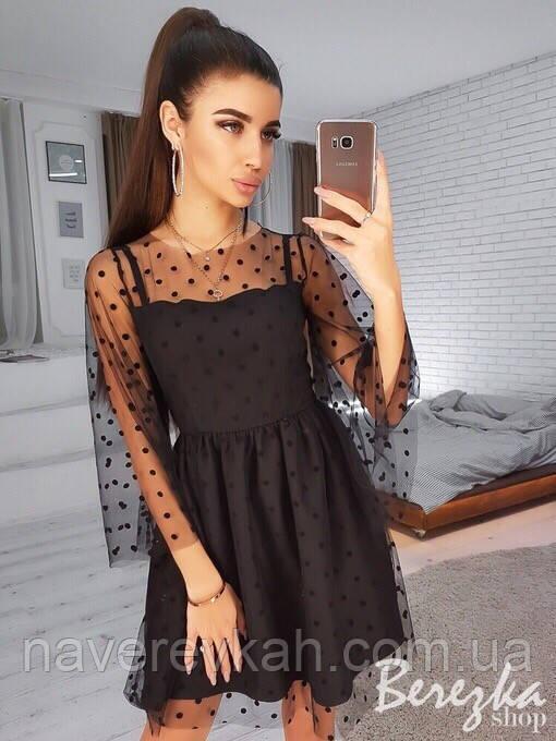 Женское вечернее  осеннее платье евросетка на бретельках костюмка черное 42-44 46-48