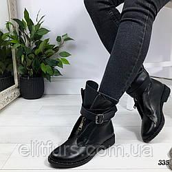 Ботинки зимние с ремешками, нат.кожа