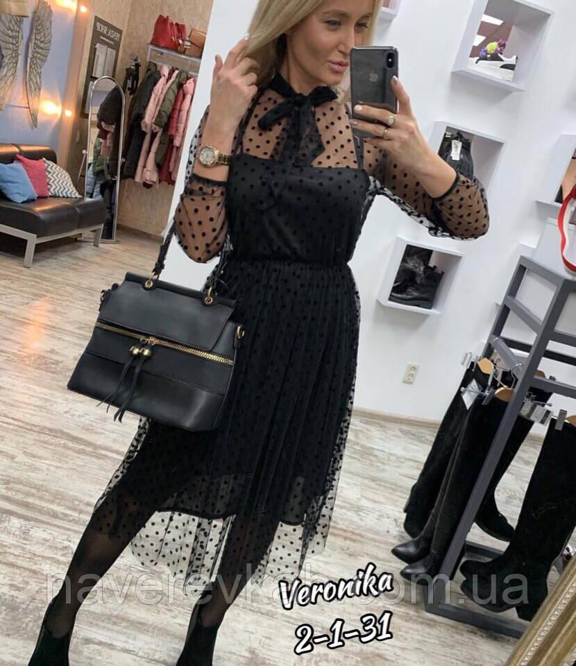 Женское вчернее удлиненное осеннее платье трикотаж сетка черное 42-44 46-48