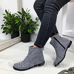 Ботинки зимние короткие, нат.замш серый