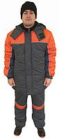 Куртка рабочая зимняя, серая с оранжевой отделкой и кантом СВП