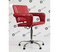 Кресло парикмахерское Flamingo на пневматике Крестовина Хром, КЗ Rainbow Red (Velmi TM)