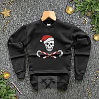 Кофта зимняя Bad Santa черная / свитшот новогодний на флисе | ЛЮКС, фото 1