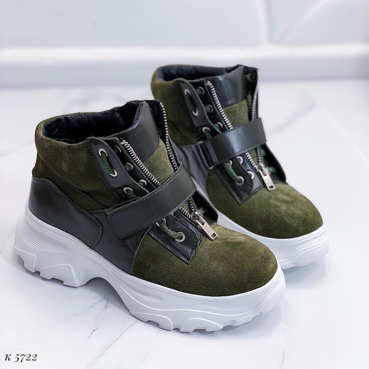 37 р. Ботинки женские деми зеленые замшевые на подошве, демисезонные, из натуральной замши, натуральная замша