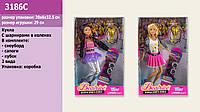 "Кукла типа ""Барби"" 2 вида, шарнир,с доской для сноуборда, в кор. 28см /48-2/"