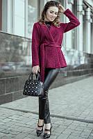 Короткое женское пальто. Фиолетовое. На запах, с поясом. Размер 42.