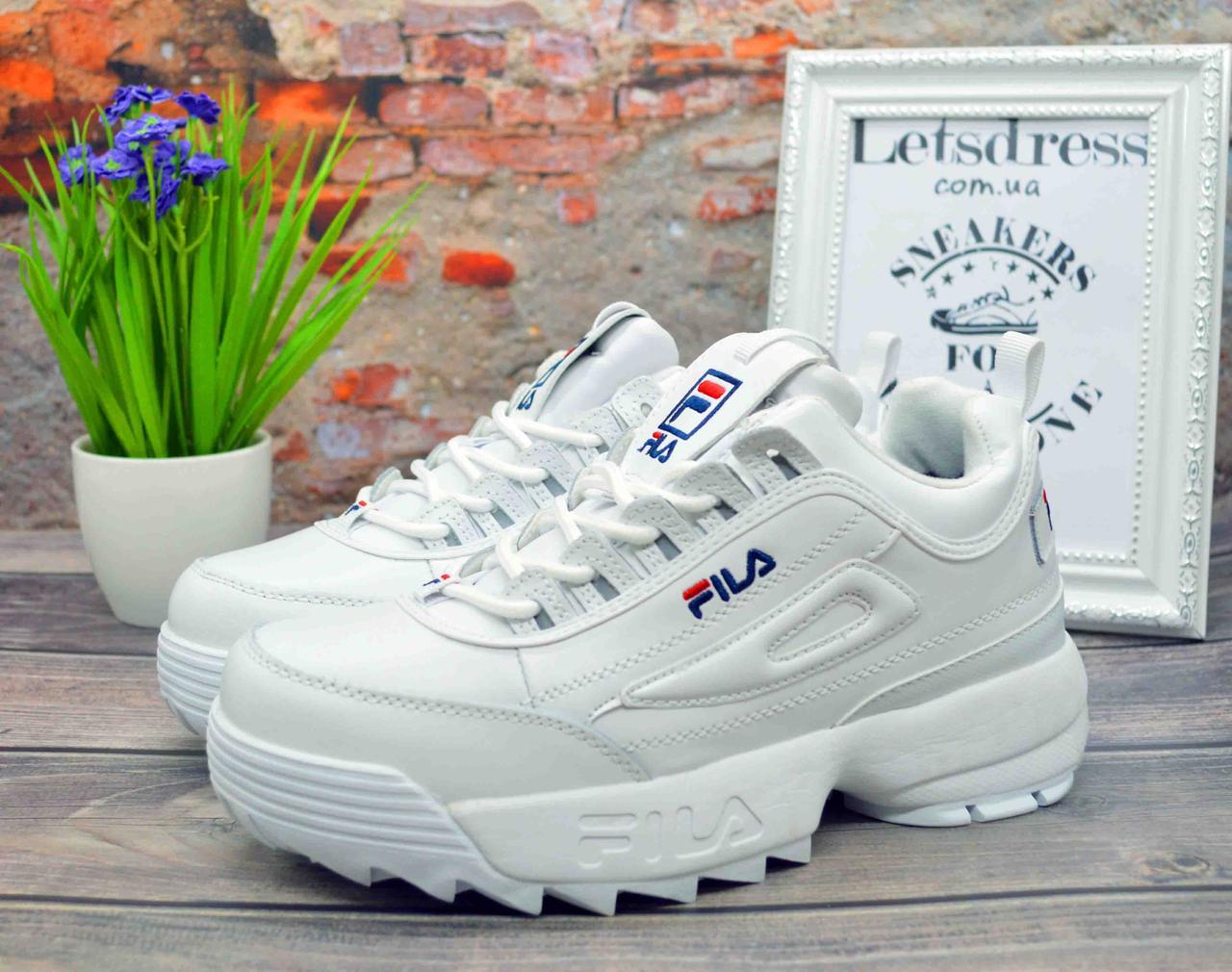 ✅ Жіночі кросівки зимові ШКІРА ХУТРО Fila Disruptor 2 White Філа Дисраптор білі кросівки на платформі