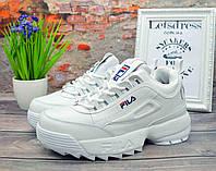 ✅ Женские кроссовки зимние КОЖА МЕХ Fila Disruptor 2 White Фила Дисраптор белые кроссовки на платформе 40