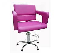 Кресло парикмахерское Flamingo на пневматике Крестовина Хром, КЗ Сиреневый (Velmi TM)