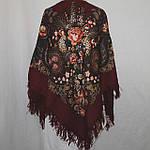 """Платок шерстяной Павлопосадский """"Над серебряной водой"""" размер 146х146см. рис. 734-5, фото 2"""