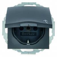 Розетка с заземлением с крышкой с защитой от детей 16А/250В В.7 Berker Антрацит