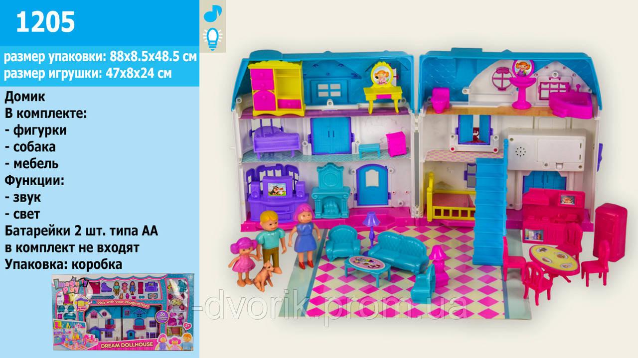 Кукольный дом 1205 с куклами и мебелью батар.муз.свет кор.88*8,5*48,5 ш.к./8/