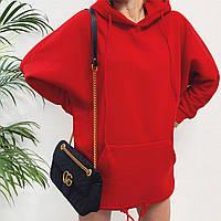 Женское зимнее теплое худи на флисе с капюшоном черное красное серое 42-46, фото 1
