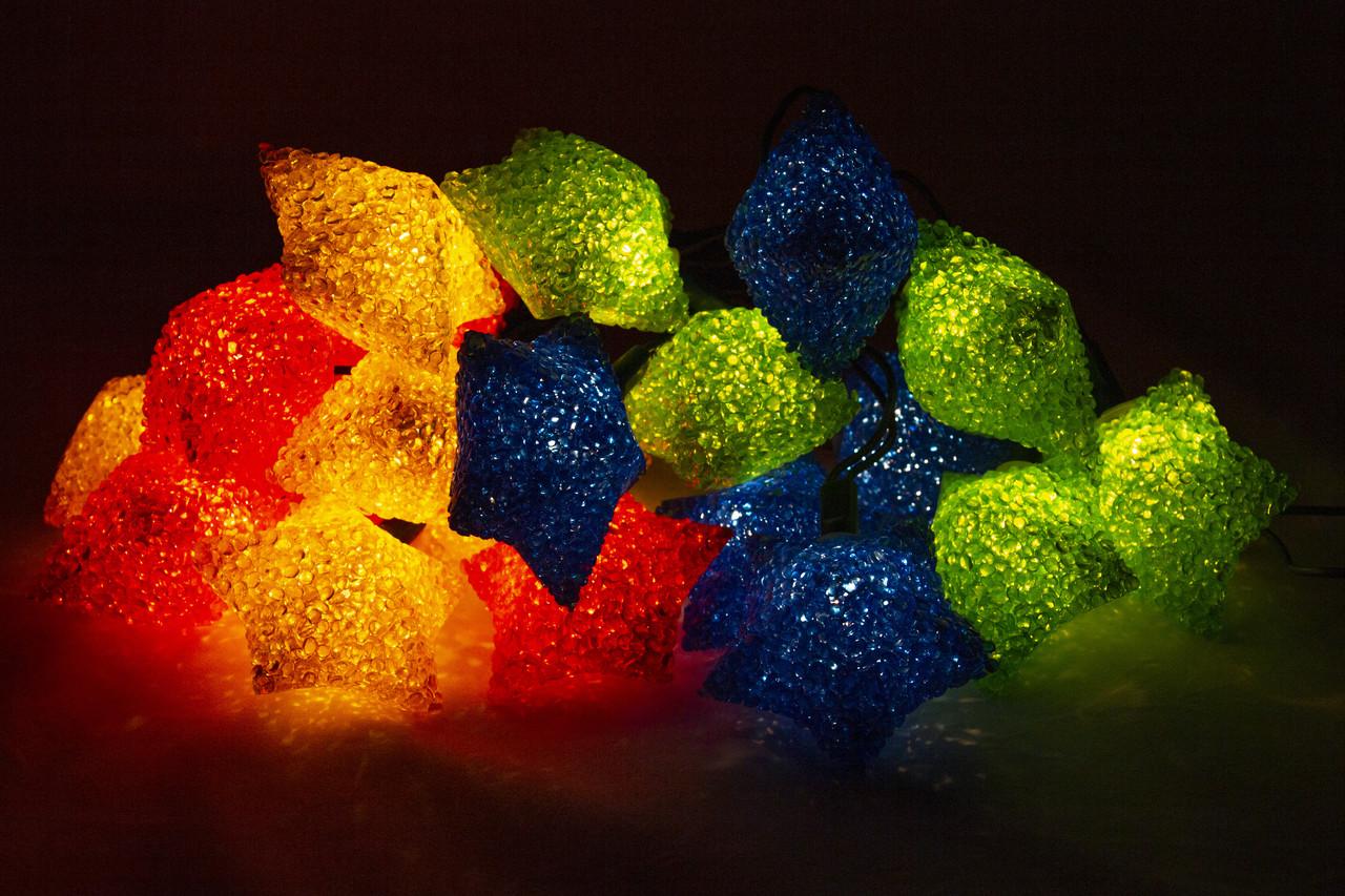 Электрогирлянда кристаллические большие звезды, 20Л разноцвет (040070-2)