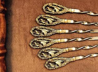 """Набор шампуров с бронзовыми ручками """"Ловкий сокол"""", в кейсе из бука, фото 3"""