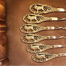"""Шампури ручної роботи """"Леви"""" в кейсі з еко-шкіри, 6шт, фото 3"""