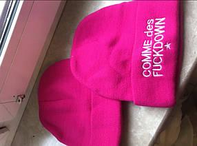 Розовая  хип хоп зимняя шапка без надписей чистая