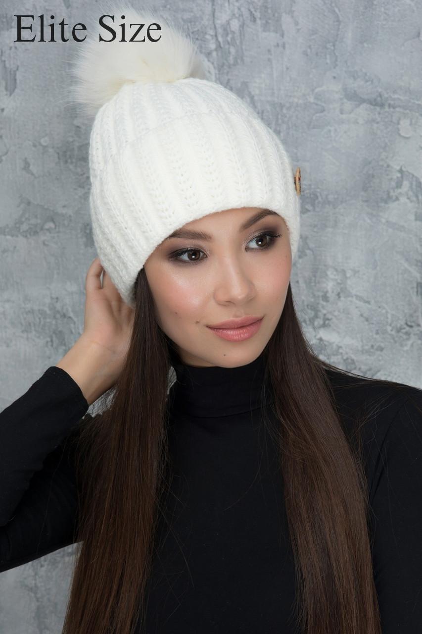 Зимняя вязаная шапка с помпоном