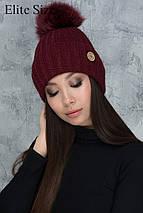 Зимняя вязаная шапка с помпоном, фото 2