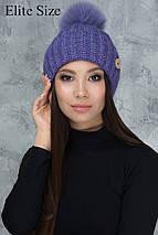 Зимняя вязаная шапка с помпоном, фото 3
