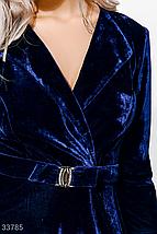 Вечернее бархатное платье мини с драпировкой и поясом темно-синий, фото 3
