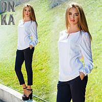 женская штапельная  блузка длинный рукав