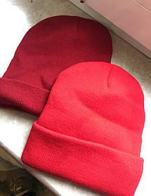 Красная  хип хоп зимняя шапка без надписей чистая