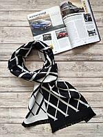 Мужской черный шарф в серых ромбах