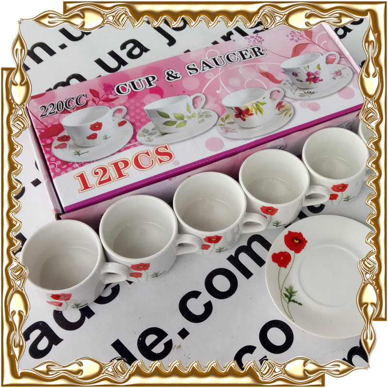 Сервіз чайний Cup&Saucer 12 пр. Мак 200 мл, кераміка № 53321
