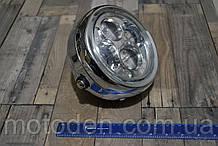 """Фара LED A023GN  хром круглая в ретростиле с габаритом 6,5 """" (диаметр крепления 16см)"""