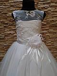 Сукня дитяча святкова біла з фатиновою спідницею на 7-10 років, фото 3