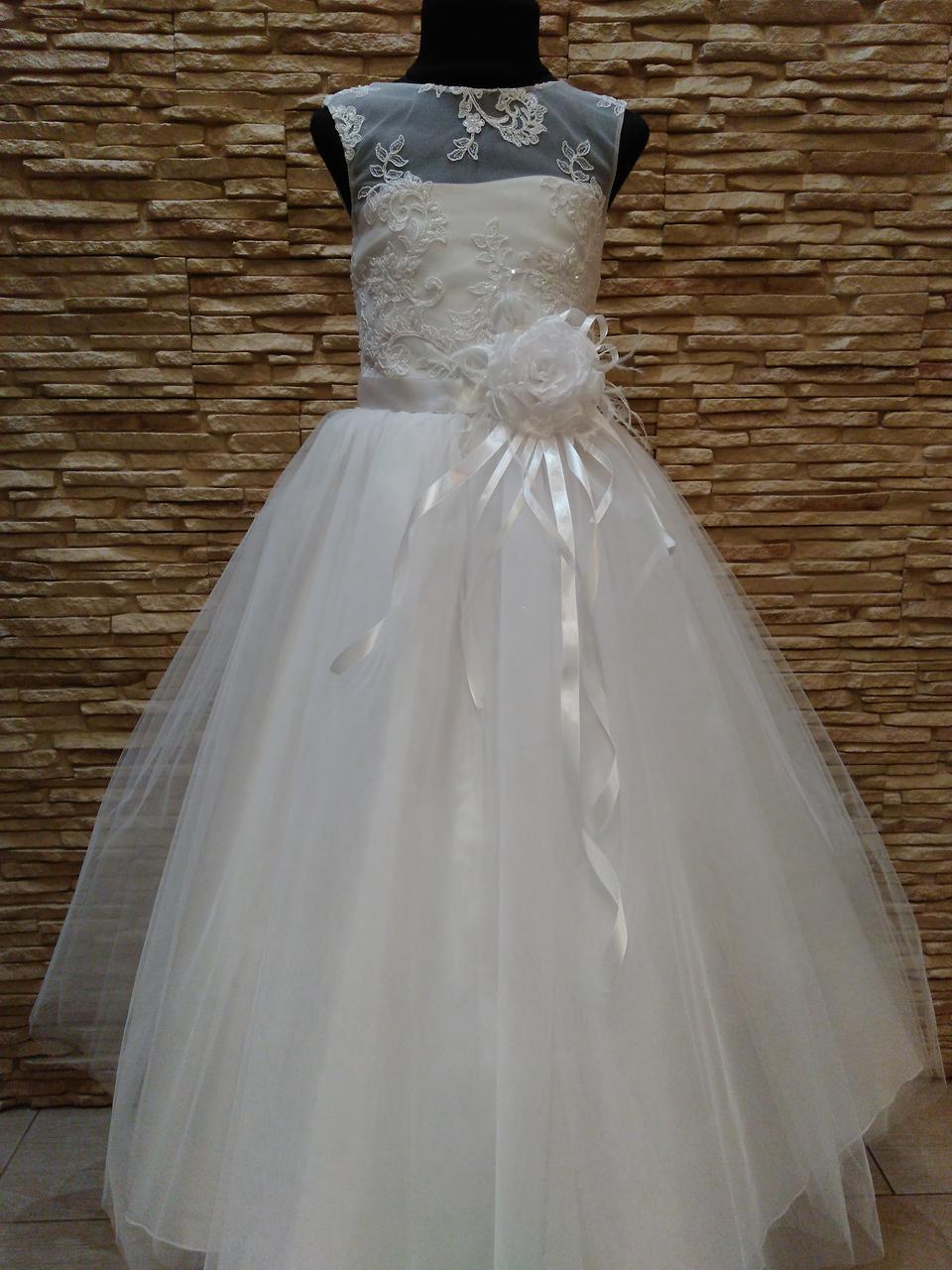 Сукня дитяча святкова біла з фатиновою спідницею на 7-10 років