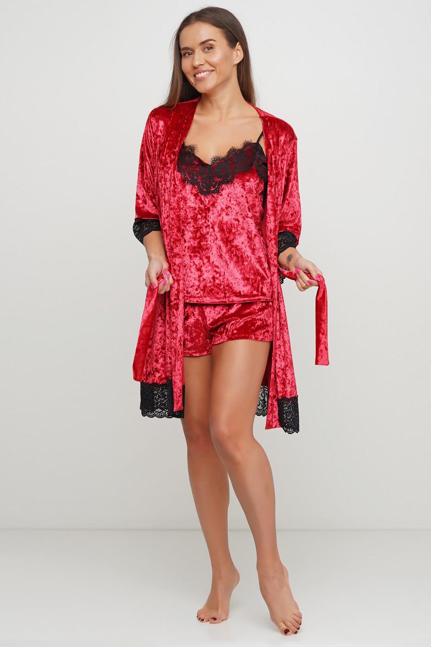Красный велюровый халатик с французским кружевом