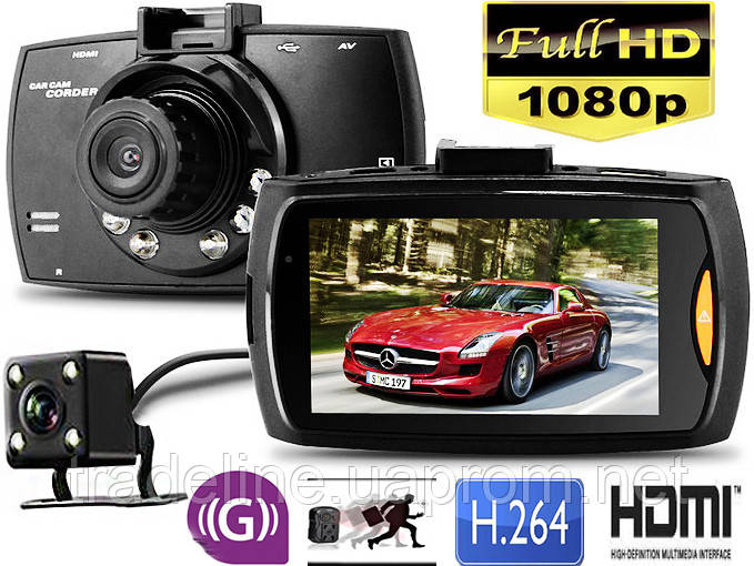 Видеорегистратор G30B (оригинал), 2 камеры, 1080P FULLHD, Парктроник
