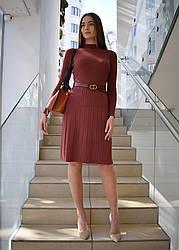 Трикотажное платье с плиссированной юбкой