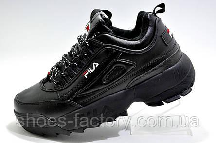 Зимние кроссовки в стиле Fila Disruptor 2, All Black (Черные), фото 2