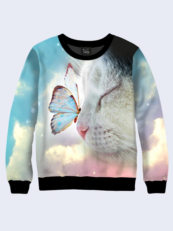 Свитшот женский Котик с бабочкой
