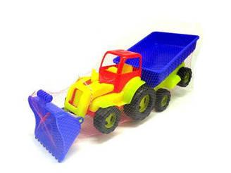 Трактор с ковшем и прицепом (салатово-синий) 5079