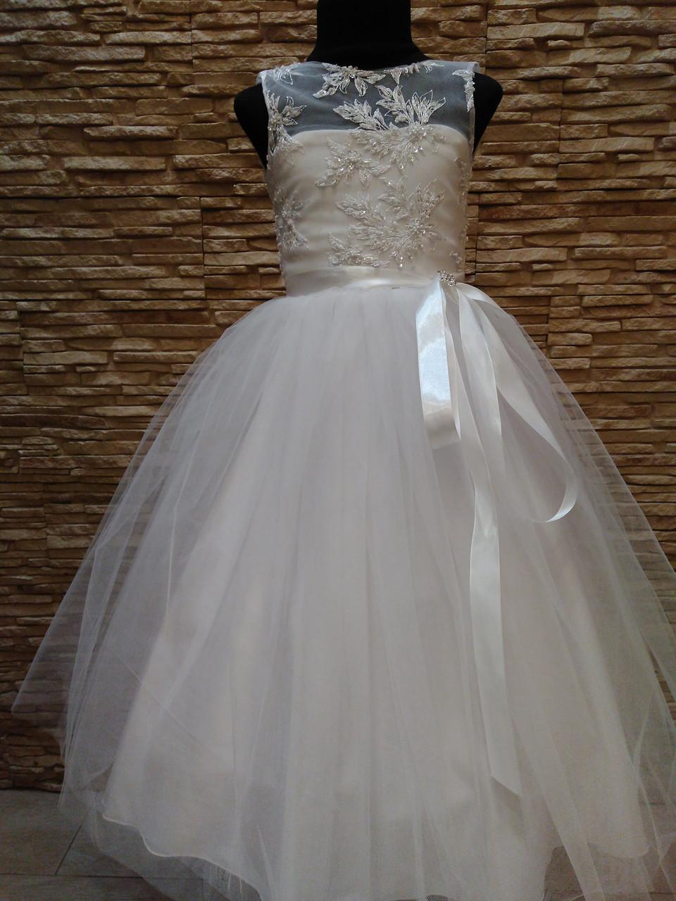 Платье детское нарядное белое с фатиновой юбкой на 5-7 лет