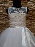 Платье детское нарядное белое с фатиновой юбкой на 5-7 лет, фото 3