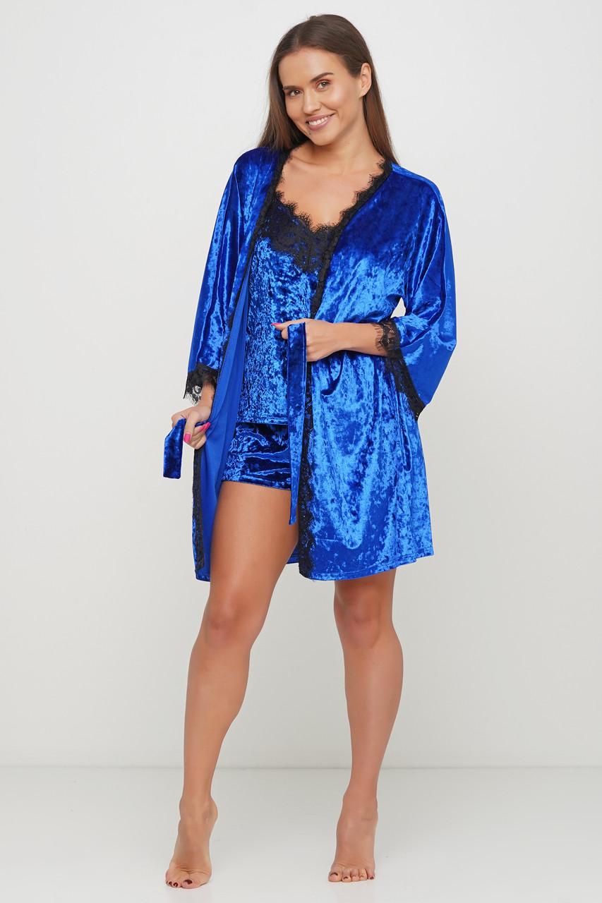 Женский велюровый халат с кружевом