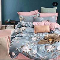Двуспальный комплект постельного белья  Бязь Gold кораллово-серый с цветами