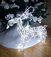 Фигура Олень новогодний уличный 60 см, белый, синий.
